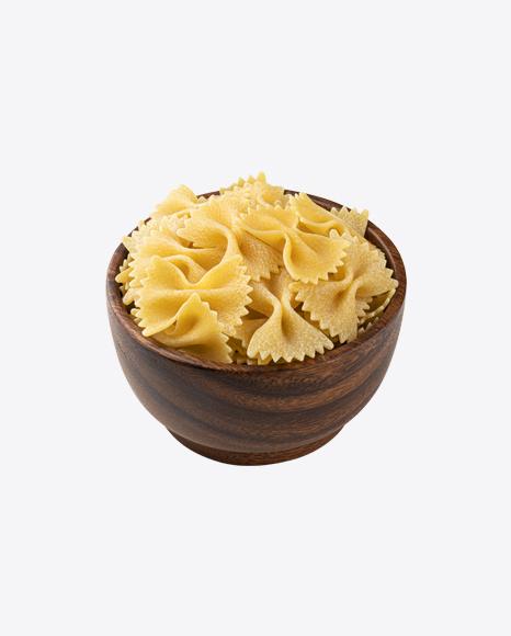 Raw Farfalle Pasta in Wooden Bowl