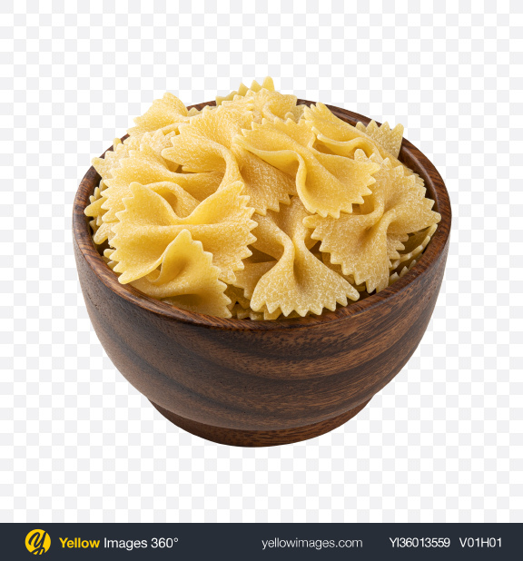 Download Raw Farfalle Pasta in Wooden Bowl Transparent PNG on YELLOW Images