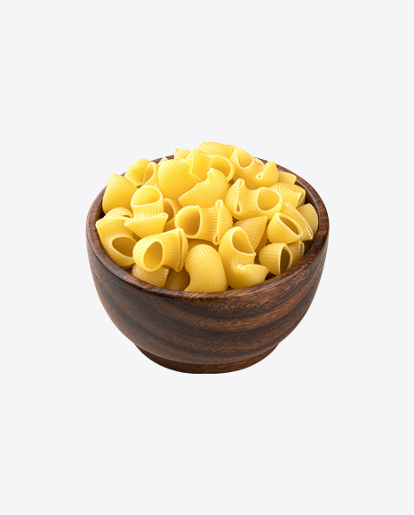Raw Chiocciole Pasta in Wooden Bowl