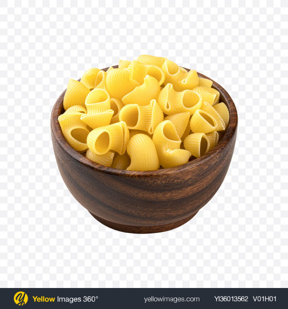 Download Raw Chiocciole Pasta in Wooden Bowl Transparent PNG on YELLOW Images