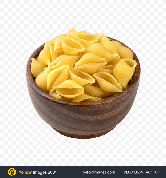Download Raw Conchiglie Rigate Pasta in Wooden Bowl Transparent PNG on YELLOW Images