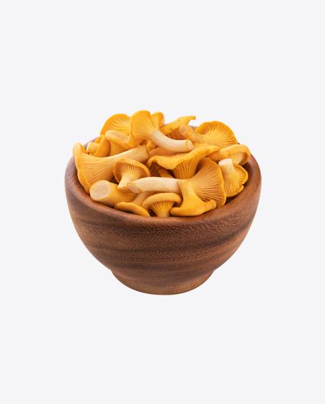 Chanterelle Mushroom in Wooden Bowl