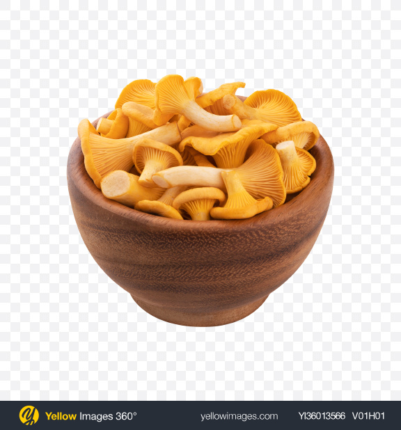 Download Chanterelle Mushroom in Wooden Bowl Transparent PNG on YELLOW Images
