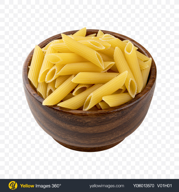 Download Raw Penne Pasta in Wooden Bowl Transparent PNG on YELLOW Images