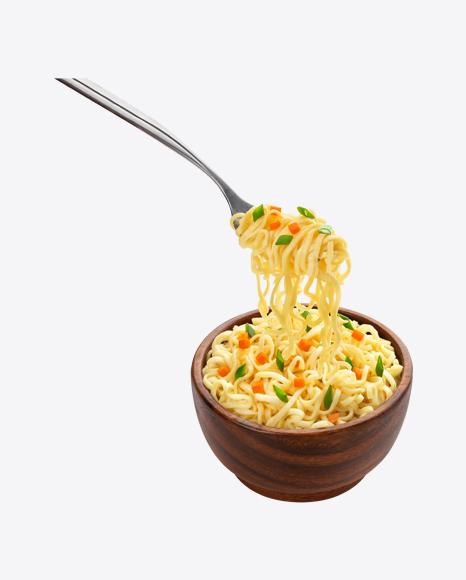 Noodles in Wooden Bowl