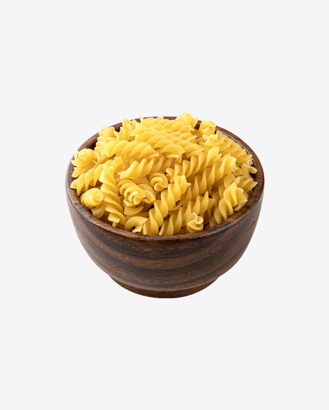 Raw Rotini Pasta in Wooden Bowl