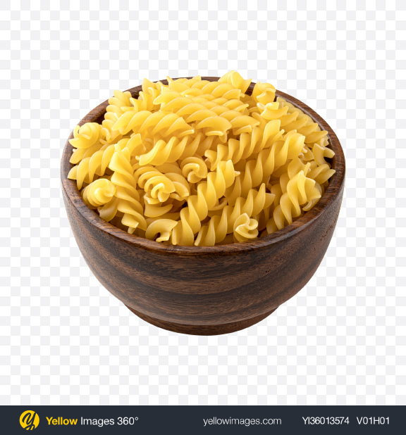 Download Raw Rotini Pasta in Wooden Bowl Transparent PNG on YELLOW Images