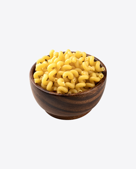 Raw Cavatappi Pasta in Wooden Bowl