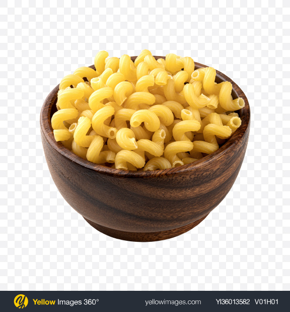 Download Raw Cavatappi Pasta in Wooden Bowl Transparent PNG on YELLOW Images