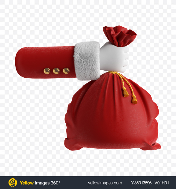 Download Santa's Hand w/ Red Bag Transparent PNG on YELLOW Images