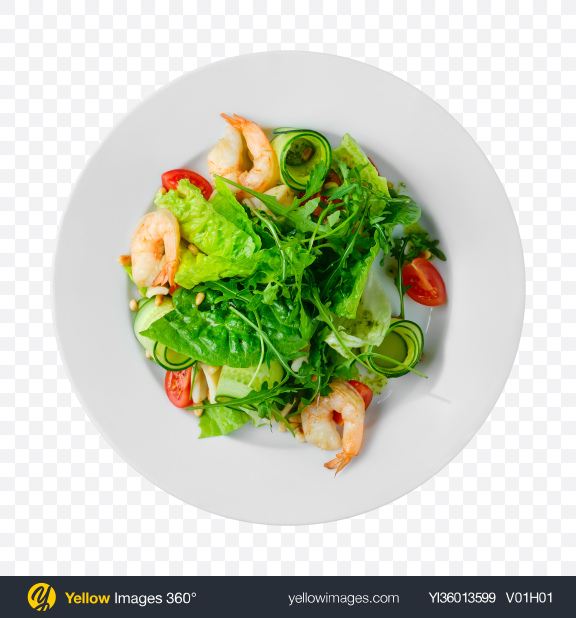 Download Green Salad w/ Shrimps Transparent PNG on YELLOW Images