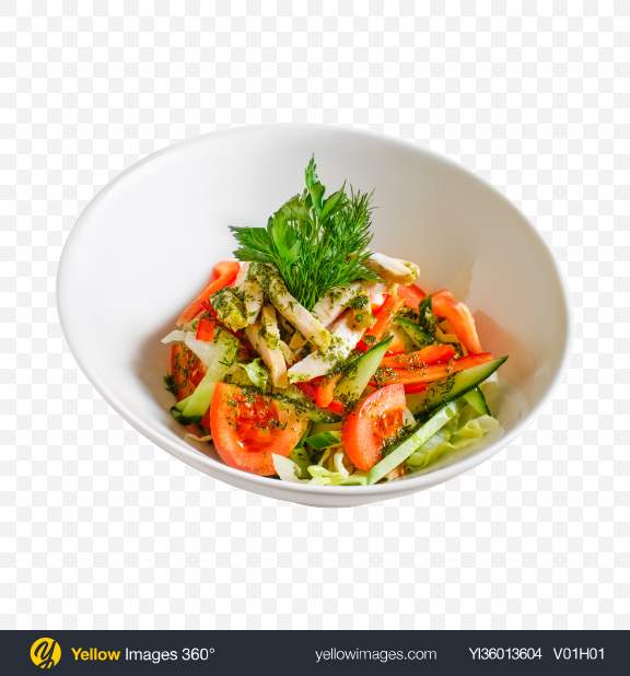 Download Green Salad w/ Chicken Slices Transparent PNG on YELLOW Images
