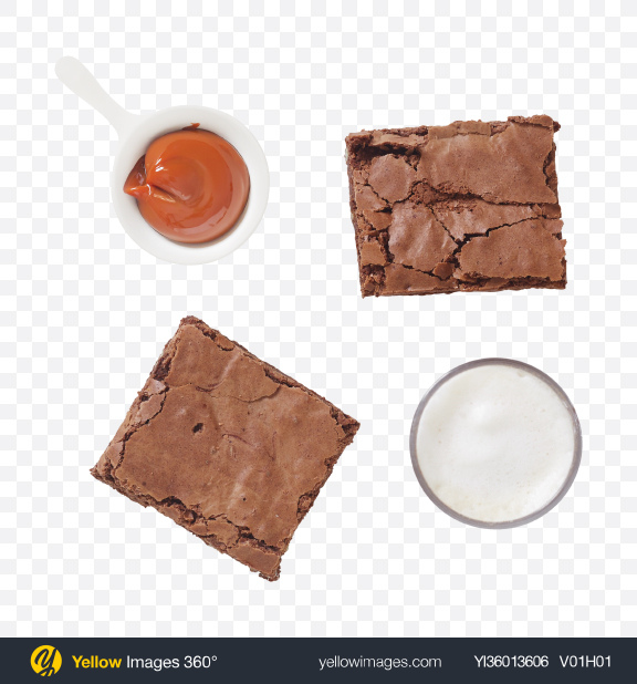 Download Brownie Pieces w/ Caramel & Creams Transparent PNG on YELLOW Images