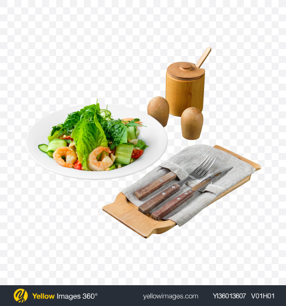 Download Green Salad w/ Shrimps and Tableware Transparent PNG on YELLOW Images