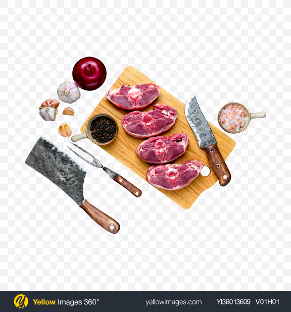 Download Raw Meat Pieces w/ Onion, Garlic, Spices & Tabelware on Wooden Board Transparent PNG on YELLOW Images
