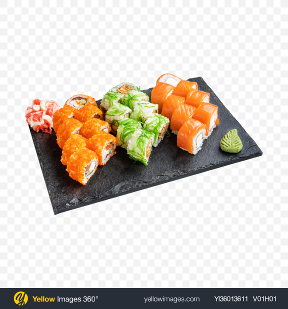 Download Sushi Rolls Set Transparent PNG on YELLOW Images