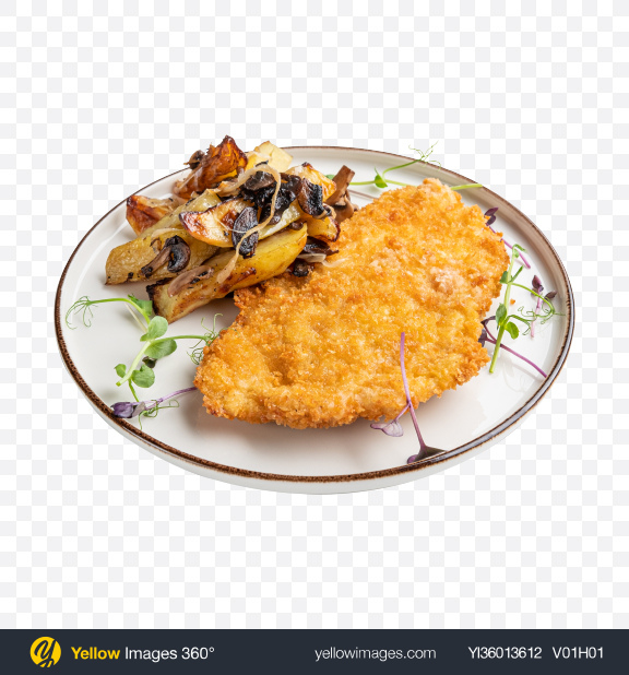 Download Fried Fillet W/ Roasted Potato & Mushrooms Transparent PNG on YELLOW Images