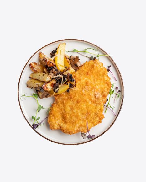 Fried Fillet W/ Roasted Potato & Mushrooms