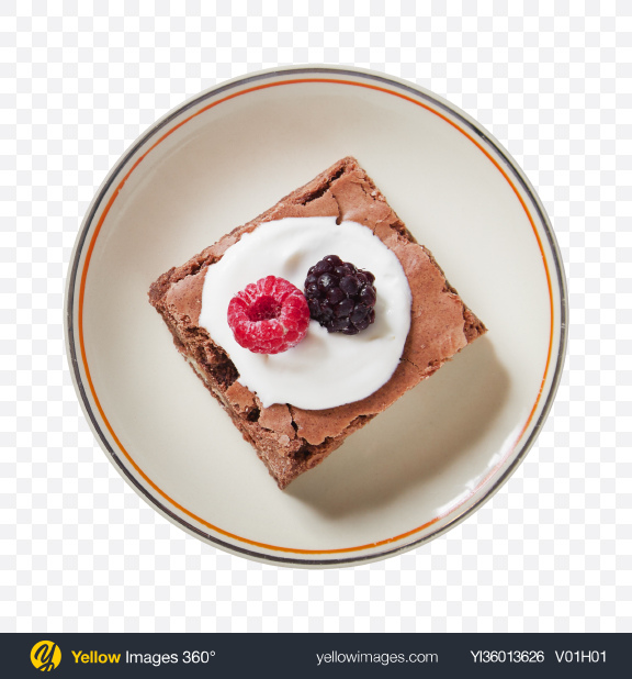 Download Brownie Piece w/ Berries & Cream Transparent PNG on YELLOW Images