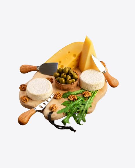 Cheese Set w/ Greens, Olives & Walnuts on Cutting Board