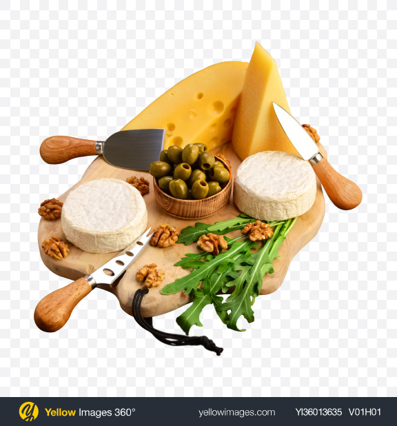 Download Cheese Set w/ Greens, Olives & Walnuts on Cutting Board Transparent PNG on YELLOW Images
