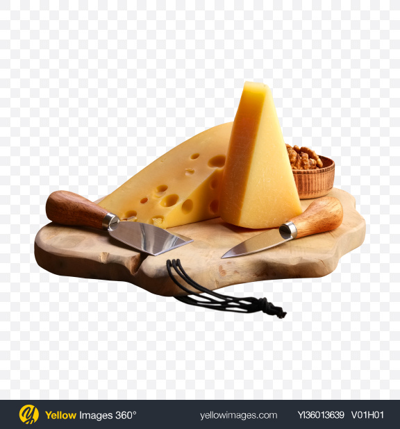Download Cheese Set w/ Walnuts & Knives on Cutting Board Transparent PNG on YELLOW Images