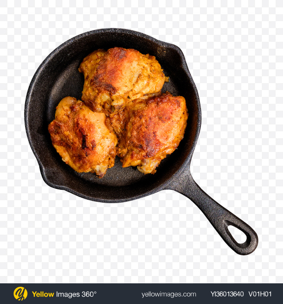 Download Roasted Chicken in Iron Pan Transparent PNG on YELLOW Images