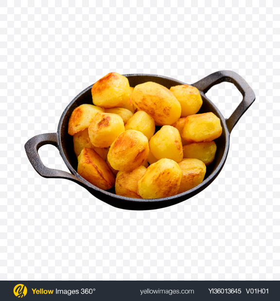 Download Roasted Potato in Iron Pan Transparent PNG on YELLOW Images
