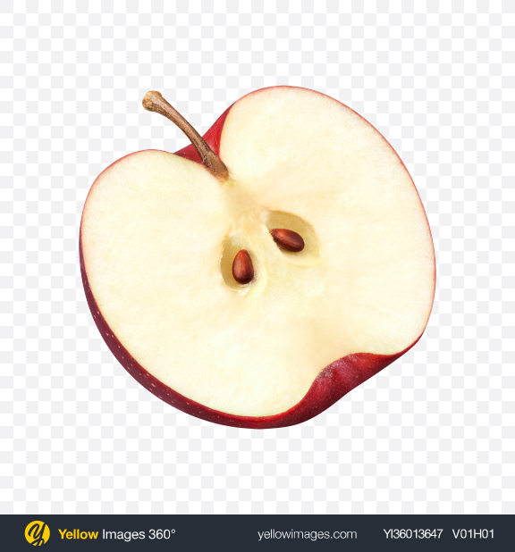 Download Half of Red Apple Transparent PNG on YELLOW Images