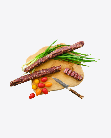 Sausages Set w/ Green Onion & Cherry Tomatoes on Wooden Board