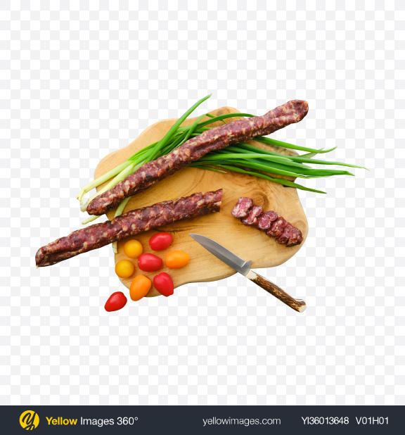 Download Sausages Set w/ Green Onion & Cherry Tomatoes on Wooden Board Transparent PNG on YELLOW Images