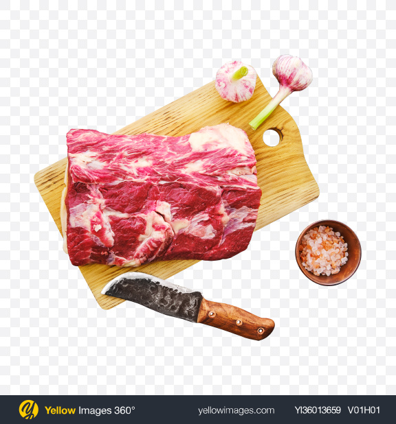 Download Raw Red Meat Piece w/ Salt & Garlic on Wooden Board Transparent PNG on YELLOW Images