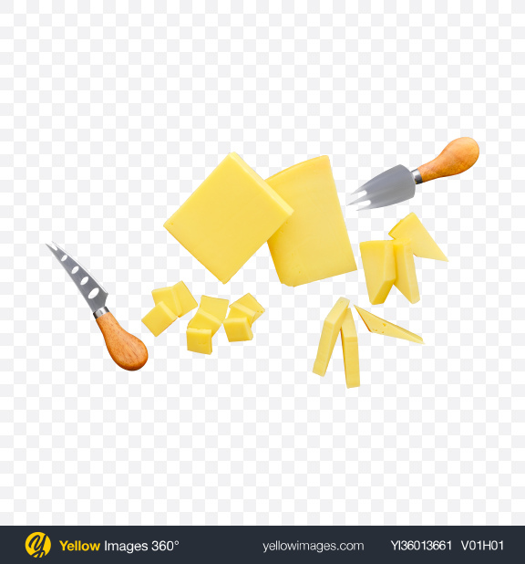 Download Cheese Pieces w/ Tableware Transparent PNG on YELLOW Images