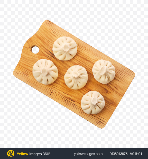 Download Raw Khinkali on Wooden Board Transparent PNG on YELLOW Images