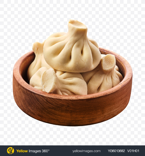 Download Raw Khinkali in Wooden Bowl Transparent PNG on YELLOW Images