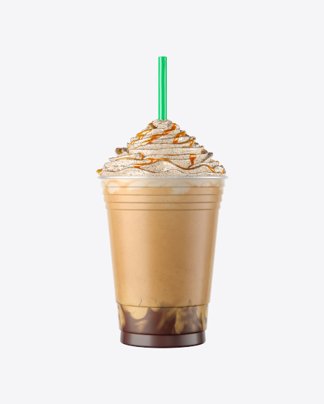 Plastic Coffee Cup w/ Whipped Cream, Caramel & Cocoa Powder