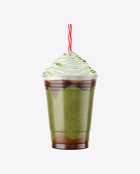 Plastic Coffee Cup w/ Whipped Cream & Matcha Powder