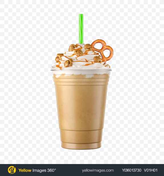 Download Plastic Coffee Cup w/ Whipped Cream, Popcorn & Pretzel Transparent PNG on YELLOW Images