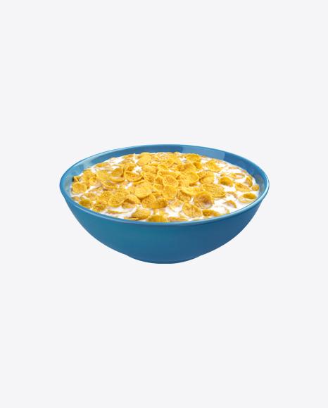 Cornflakes w/ Milk in Ceramic Bowl