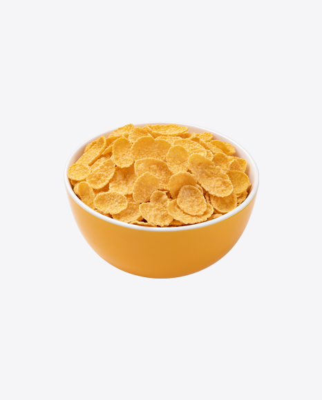Cornflakes in Yellow Bowl
