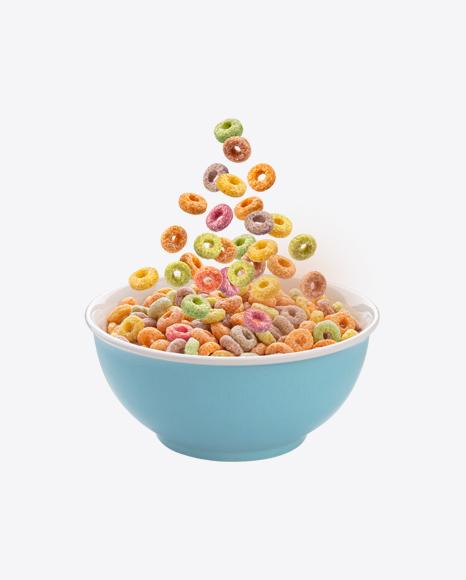 Fruit Cereal Rings in Ceramic Bowl