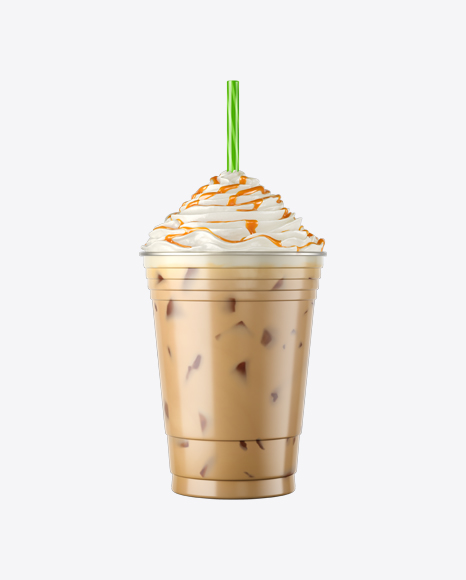 Plastic Iced Coffee Cup w/ Whipped Cream & Caramel