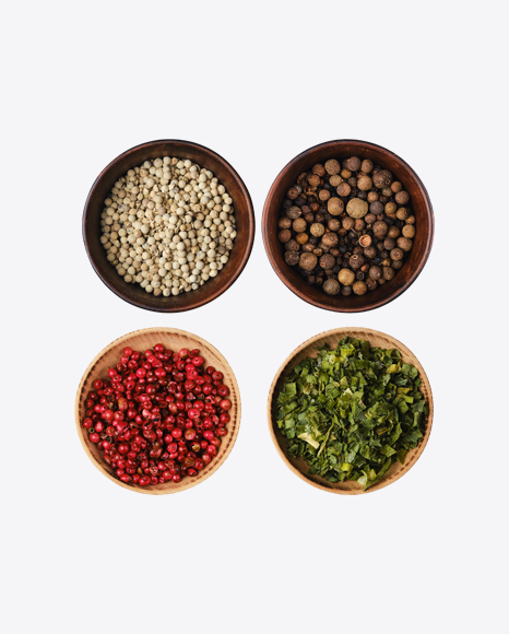 Spices Set in Wooden Bowls