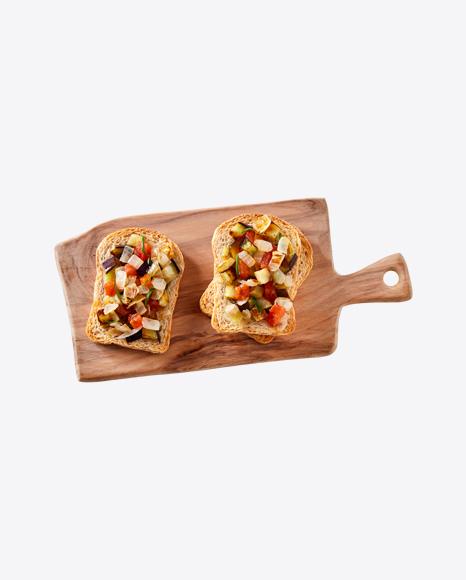 Vegetarian Bruschetta on Wooden Board