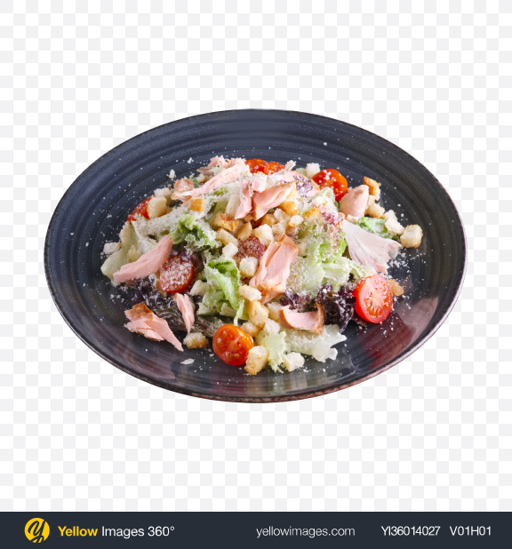 Download Caesar Salad w/ Salmon Transparent PNG on YELLOW Images