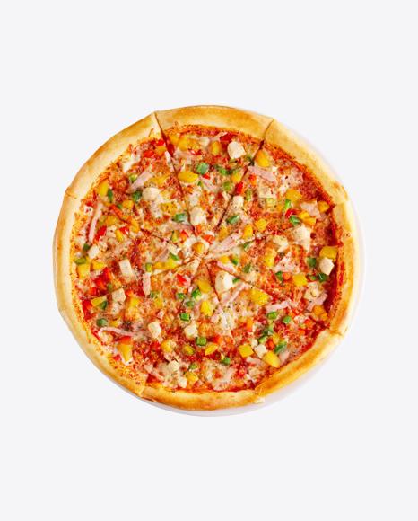Pizza w/ Ham Slices & Vegetables