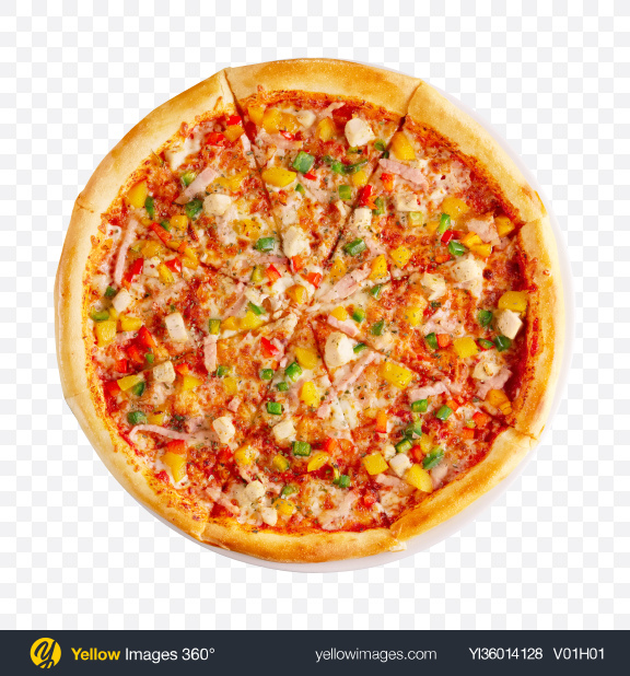 Download Pizza w/ Ham Slices & Vegetables Transparent PNG on YELLOW Images
