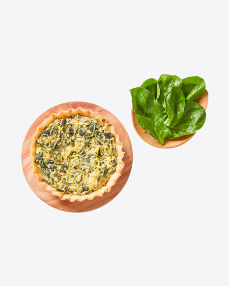 Tart w/ Spinach & Cheese on Wooden Boards