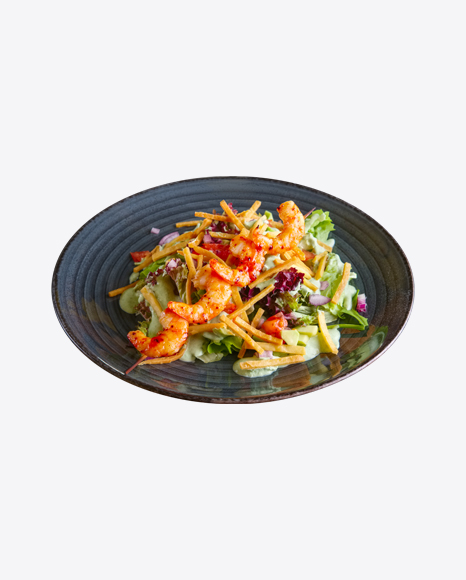 Fresh Green Salad w/ Roasted Shrimps