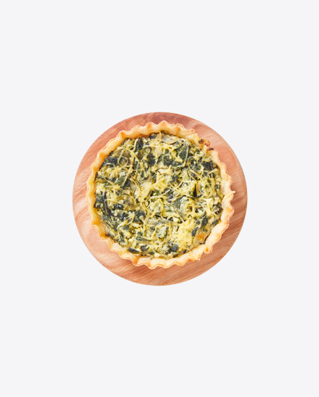 Tart w/ Spinach & Cheese on Wooden Board